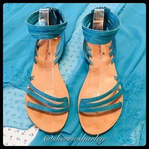🦋👡 Turquoise Ankle Wrap Sandals Size 10 EUC 🦋👡